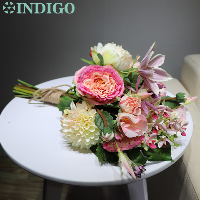 INDIGO Unique Gift Pink Bouquet Rose Dahlia Arrangement Wedding Table Bouquet Party Event Centerpiece Free Shipping in Artificial Dried Flowers from Home Garden