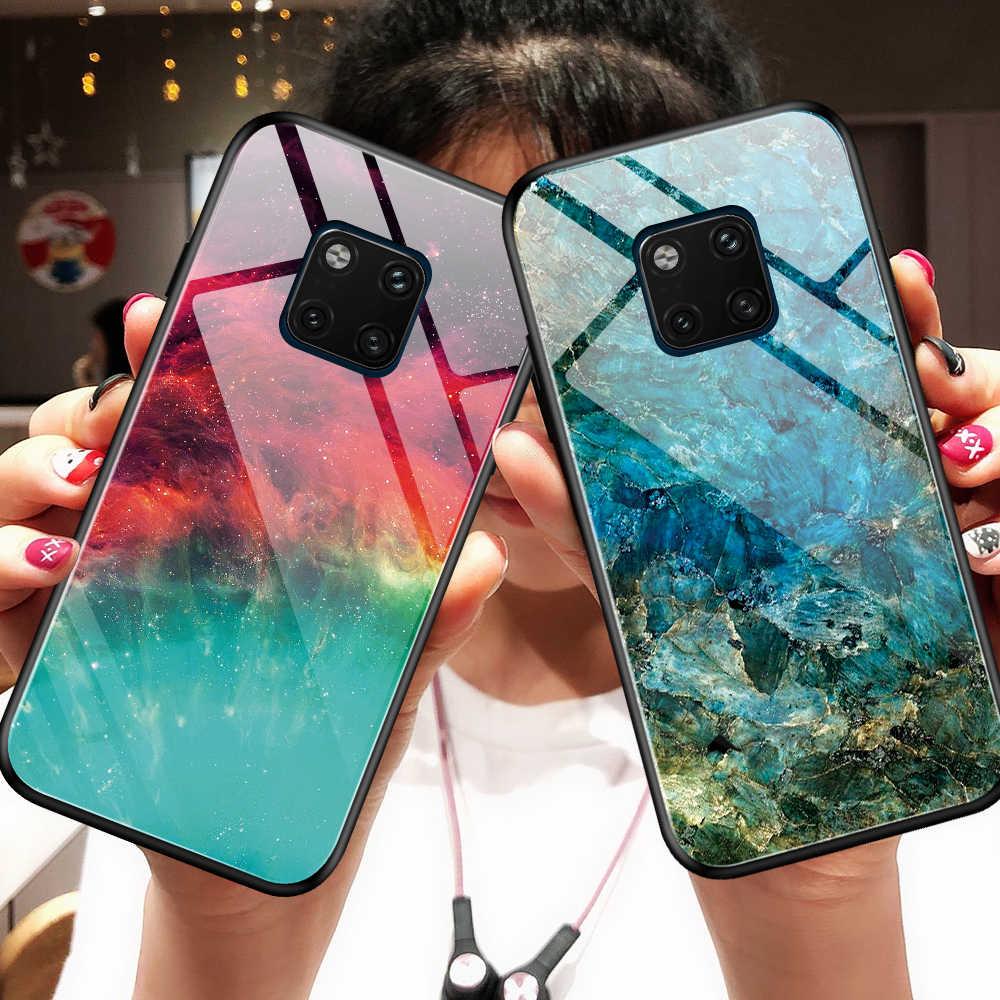 Otao gradiente de vidro temperado caso para huawei companheiro 30 20 pro p30 p20 lite mármore capa traseira honra 20 10 9x caso tpu pára-choques coque