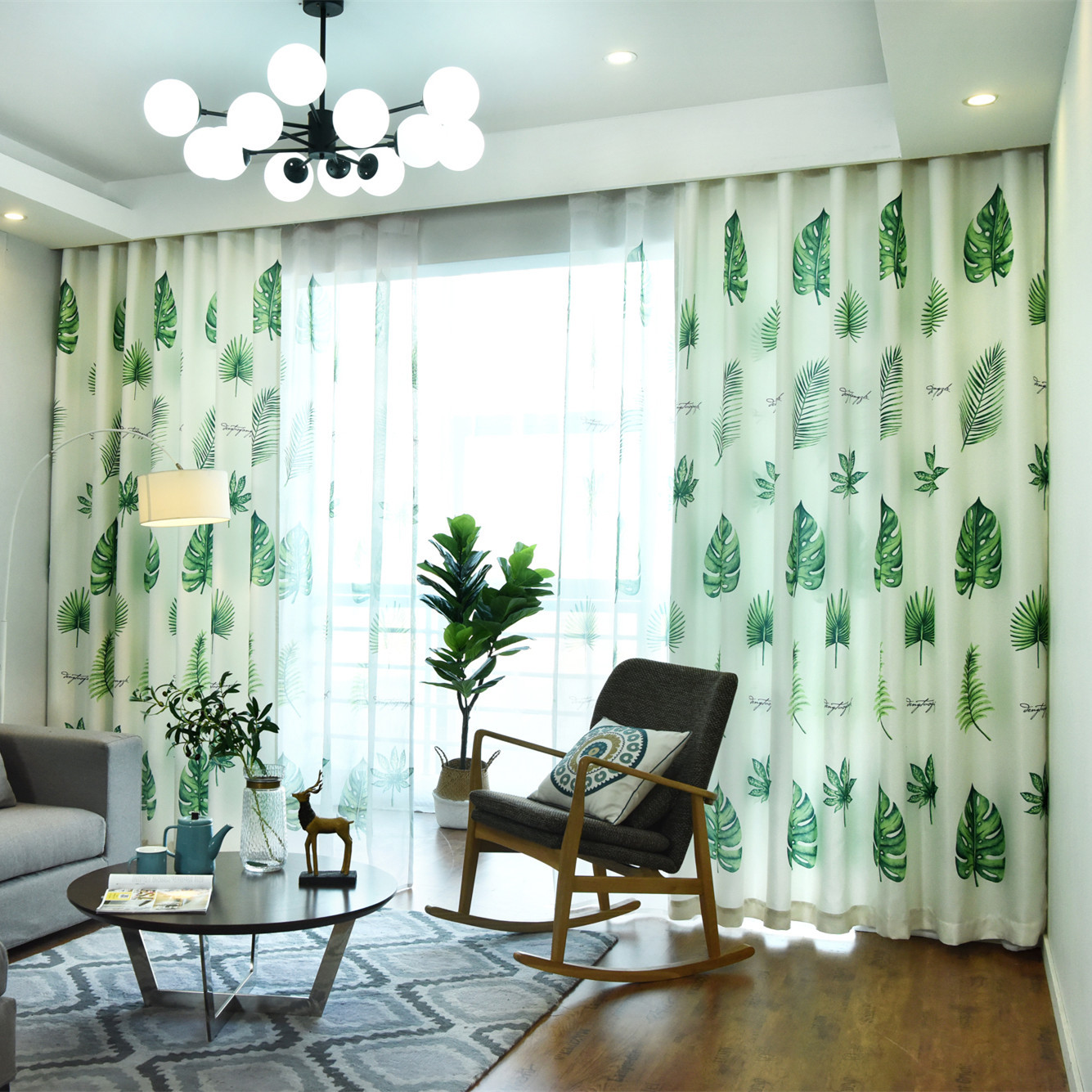 Rzcortinas Curtains For Living Room Bedroom Modern Fashion Curtain Monstera Leaf Printed Tulle Curtain Green Plant Drapes Curtains Aliexpress