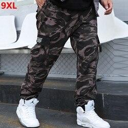 Automne grande taille salopette hommes marée marque pantalons décontractés hommes en plein air tendance grande taille ample camouflage survêtement pantalon 9XL 8XL 7XL