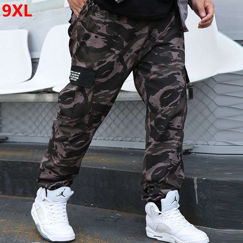 Autumn Large Size Overalls Men's Tide Brand Casual Pants Men's Outdoor Trend Plus Size Loose Camouflage Jogger Pants 9XL 8XL 7XL