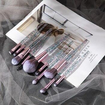 Fashion 9/10pcs Makeup Brush Set Glitter Shinny Crystal Foundation Blending Power Contour Face Cosmetic Beauty Make Up Tool Set 3