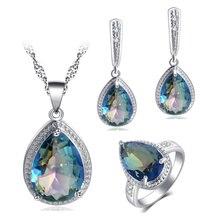 ROLILASON для женщин дизайн капли воды 925 серебро красочные синий циркон серьги ожерелье Кольца Ювелирные наборы JS737