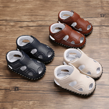 ฤดูร้อนสไตล์ใหม่ 0-1 ปีชายรองเท้าแตะยาง Sole Anti-SLIP velcro 0-12 เดือนทารกรองเท้าเด็กวัยหัดเดิน