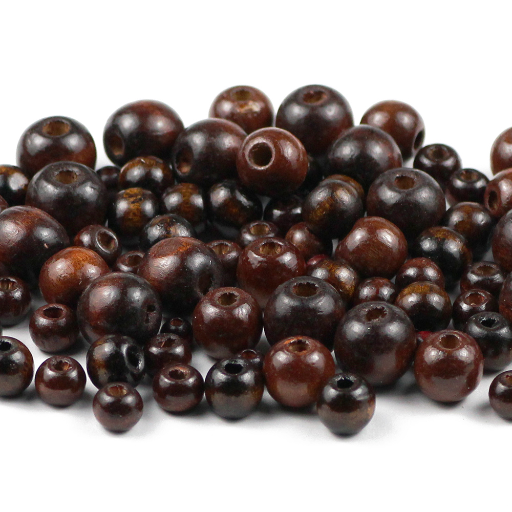 YHBZRET 500pcs Brown Natural Wooden Beads 5/6/8/10/12MM Eco-Friendly wood Round Loose