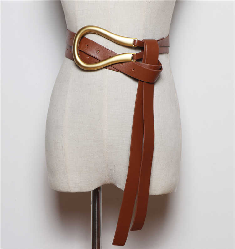Nieuwste fashion soft faux lederen riemen persoonlijkheid grote legering gesp dunne dubbele laag broeksbanden shirt geknoopt riem lange bandjes