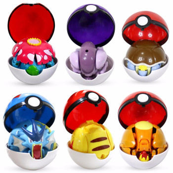 TOMY Pokemon Elf Ball Deformation Toy Model Pikachu Jenny Turtle Mewtwo Pokemon Action Figure Toy Movable Doll Model игрушки недорого
