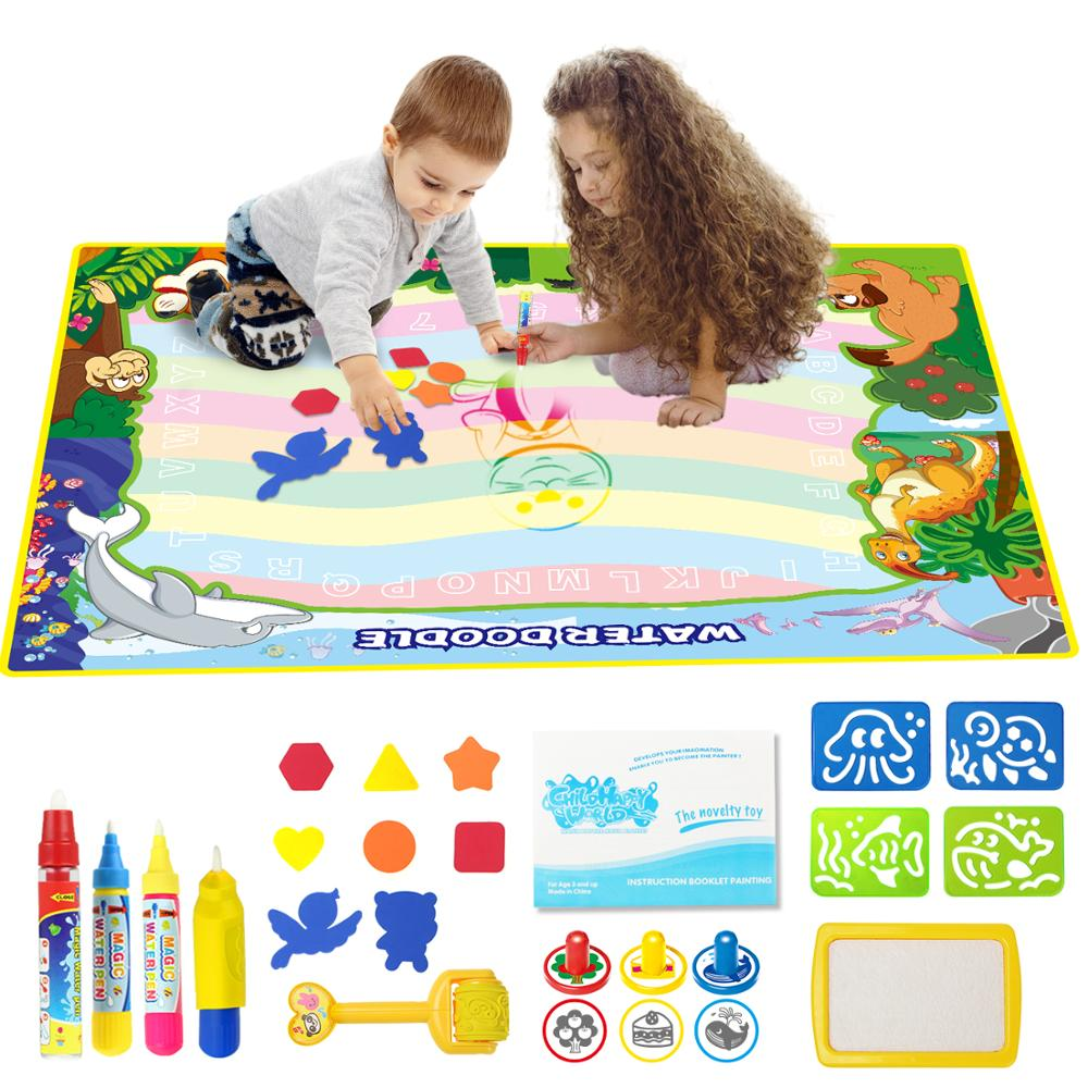 6 Types Big Size Magic Water Drawing Mat & 4 Drawing Pens & 1 Stamp Set Painting Toys Drawing Board Educational Toys For Kids