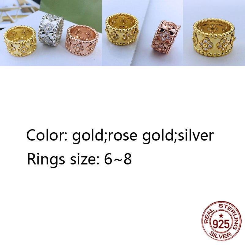 S925 anneau personnalité mode classique kaléidoscope rond perle trèfle forme tempérament couple dames bijoux nouveau chaud