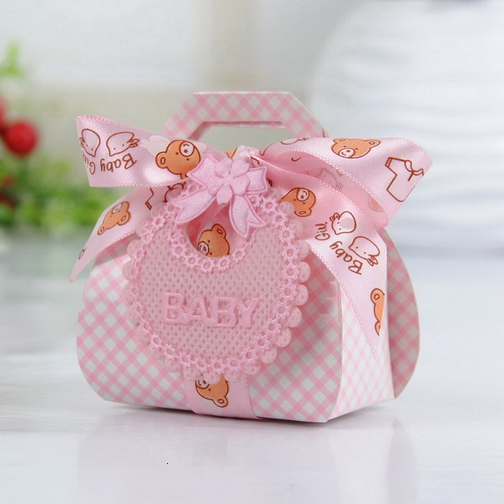 12pcs/Lot Bear Shape DIY Paper Wedding Gift Christening Baby Shower Party Favor Boxes Candy Box With Bib Tags & Ribbons