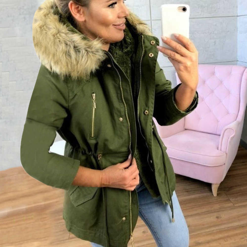 2019 mode Marke Mantel Frauen Winter Hooded Zipper Mantel Casual Femme Verdickung Baumwolle Dame Winter Jacke mit Pelz Kragen