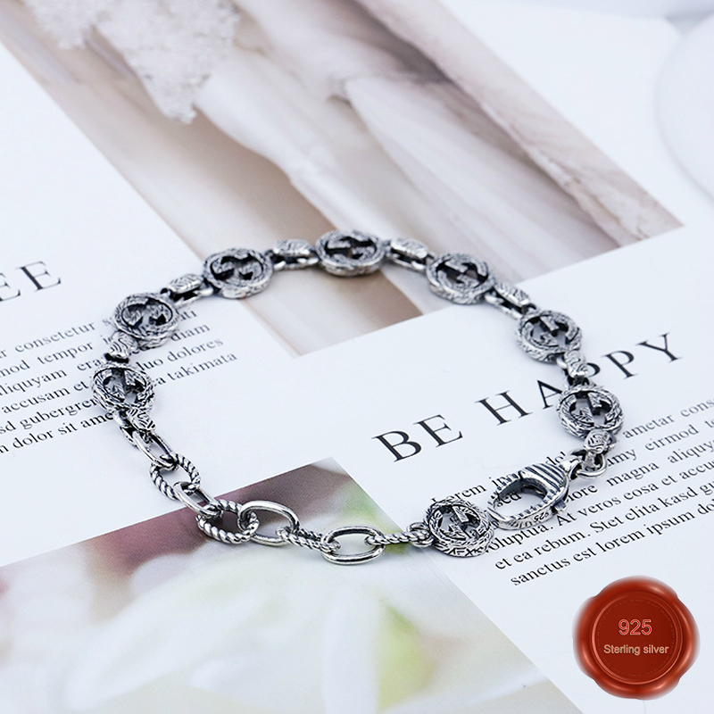 100% S925 sterling silver bracelet personality simple jewelry retro fashion letters simple shape Valentine's Day gift 2019 hot