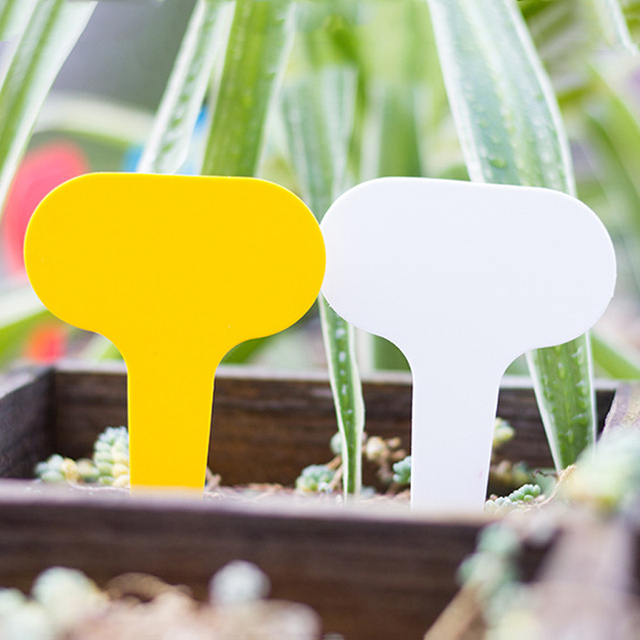 100pcs Plastic Potted Plants Labels Mark T-type Plant Tag Reusable Flower Nursery Labels Mark Tags Gardening Sign Garden Supplie