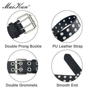 Image 5 - MaiKun ליל כל הקדושים נשים פאנק חגורות מותג עור נשים גראנג חגורת סיכה כפולה אבזם נקבה חגורת עבור ג ינס Streetwear
