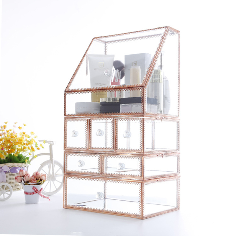 FACEINS Multi-layer Jewelry Boxes Storage Glass Storage Box For Jewelry Display Rose  Gold Rim Jewelry Organizer Transparent Box