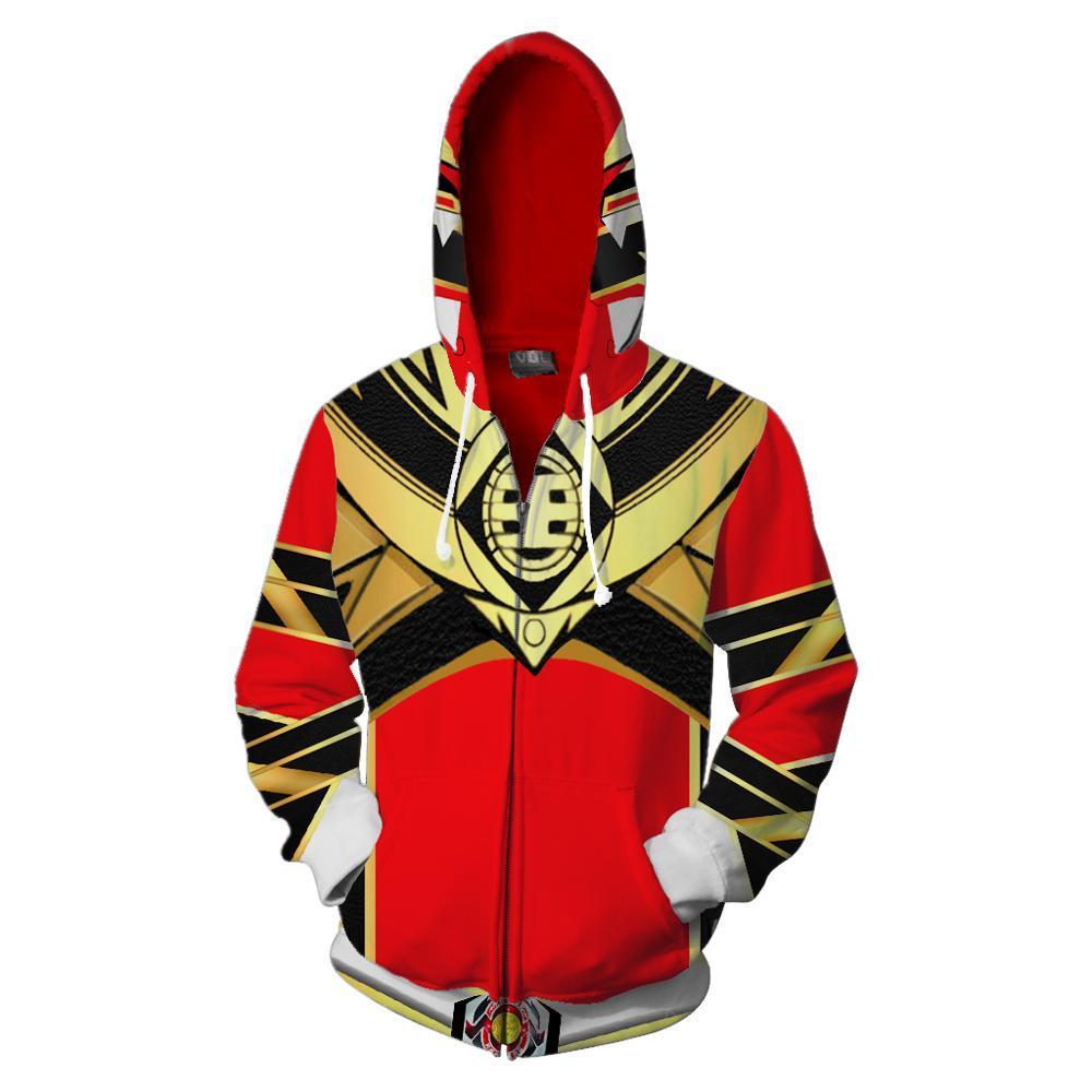 2019 nova Com Capuz Zip Up Hoodie Power Ranger Ranger Vermelho 3D Impresso Hoodies Casual hoodie do zipper Transporte da gota