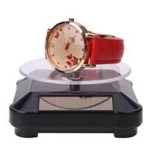 Placas giratórias vitrine solar 360 turntable girando jóias relógio anel de exibição suporte do telefone organizador jóias suporte exibição difícil