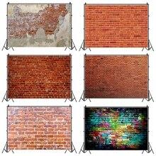 Laeaccoレンガの壁の背景ヴィンテージグランジベビーポートレート撮影背景誕生日パーティーphotocallのための写真スタジオの小道具