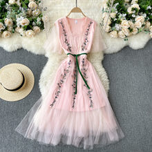 High Quality Summer Elegant Women Mesh Casual Dress Embroidery Wedding Party Robe Femme Designer Pink And Black Vestidos