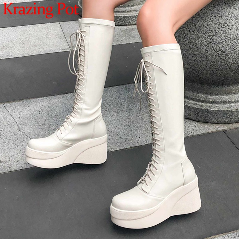 Krazing Pot New British School Style Cow Leather Boots Round Toe High Heels Thick Bottom Women Warm Lace Up Thigh High Boots L25