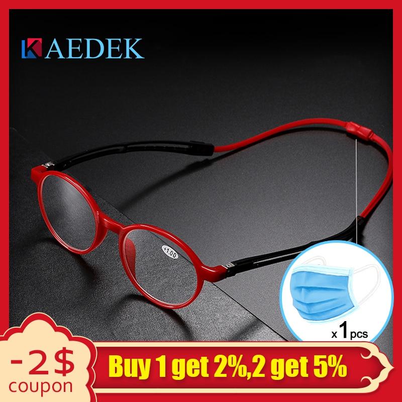 Unisex Adjustable Hanging Neck Eyewear Folding Magnet Front Reading Glasses Woman Men Design Diopter Reader Eyeglasses KR1515
