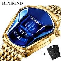 BINBOND 2020 new Gold wrist watch For Men male black technology waterproof student locomotive trend men's casual quartz watch 1