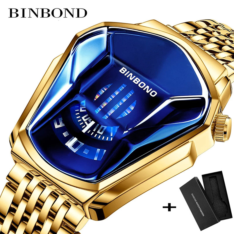 BINBOND 2020 neue Gold armbanduhr Für Männer männlichen schwarzen technologie wasserdicht student lokomotive trend männer casual quarzuhr