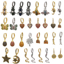 Small Hoop Earrings Women Gold Silver Color CZ Rainbow Drop Bee Butterfly Heart Fish Snake Star ant Seahorse Evil Eye Hoops 1pc gold color with star hotpink butterfly star drop earrings