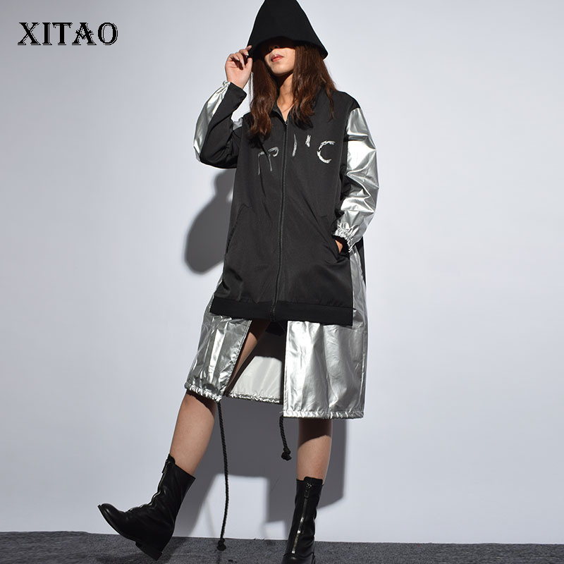 XITAO Print Pattern   Trench   Women Irregular Wide Waist Turtleneck Irregular Pocket Elegant Autumn False Two Piece Coat HJH1012