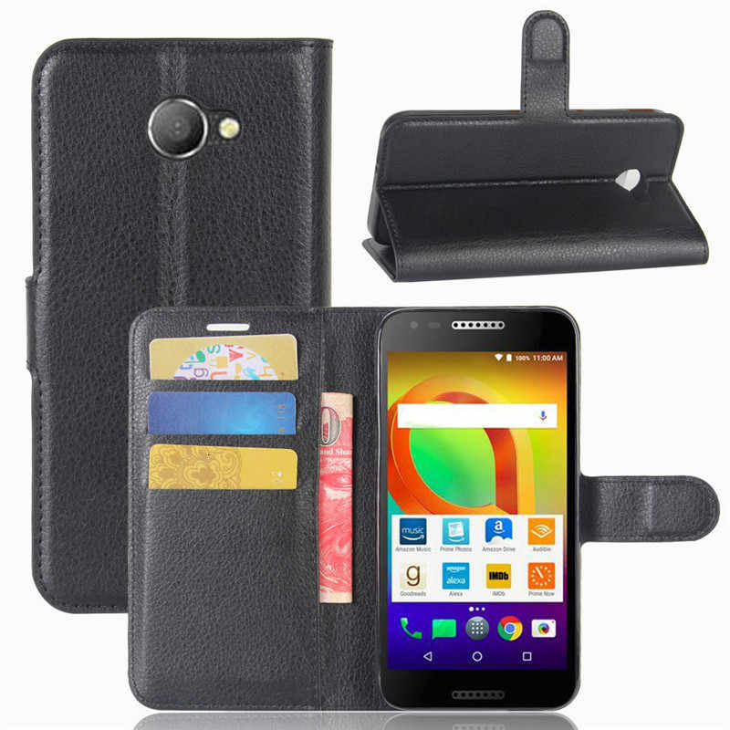 Case untuk Alcatel A30 Sengit Dompet PU Kulit Penutup untuk Alcatel A3 5046 5046Y 5046D Fundas Tas Telepon TPU Stand pemegang Kartu
