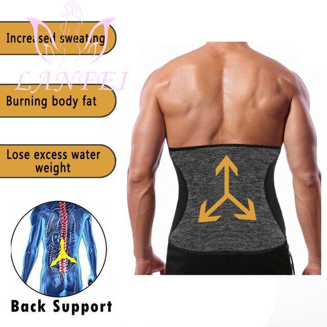 LANFEI Men Hot Neoprene Waist Trainer Trimmer Belt Workout Fitness Slimming Corset Shapwear Sauna Sweat Body Shaper Strap Girdle 4