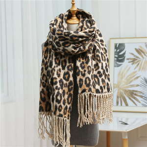 Image 3 - Design winter thick scarf for women blanket tassel lady shawls and wrap animal leopard print cashmere scarves pashmina foulard