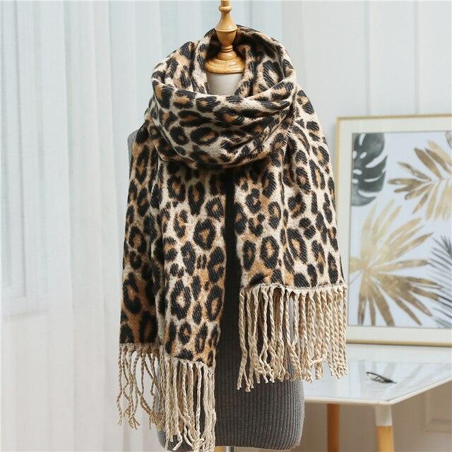VeryYu Leopard Print Cashmere Scarf Fashion  VerYYu