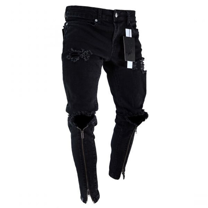 Mens Cool Designer Brand Black Jeans Skinny Ripped Destroyed Stretch Slim Fit Hop Hop Pants With Holes For Men Zipper Ankle