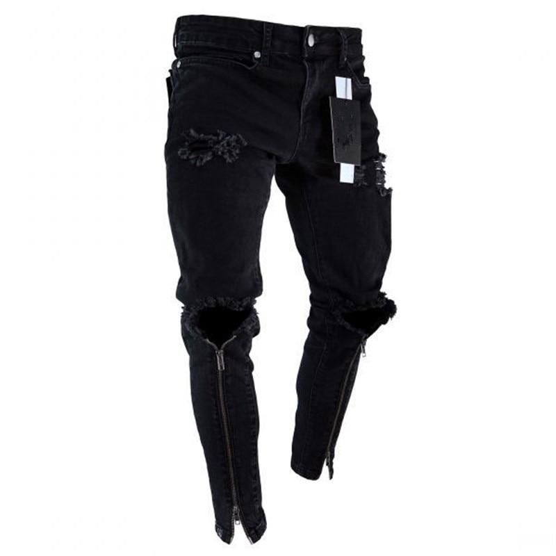 Mens Cool Designer Brand Black Jeans Skinny Ripped Destroyed Stretch Slim Fit Hop Hop Pants With Holes For Men Zipper Ankle