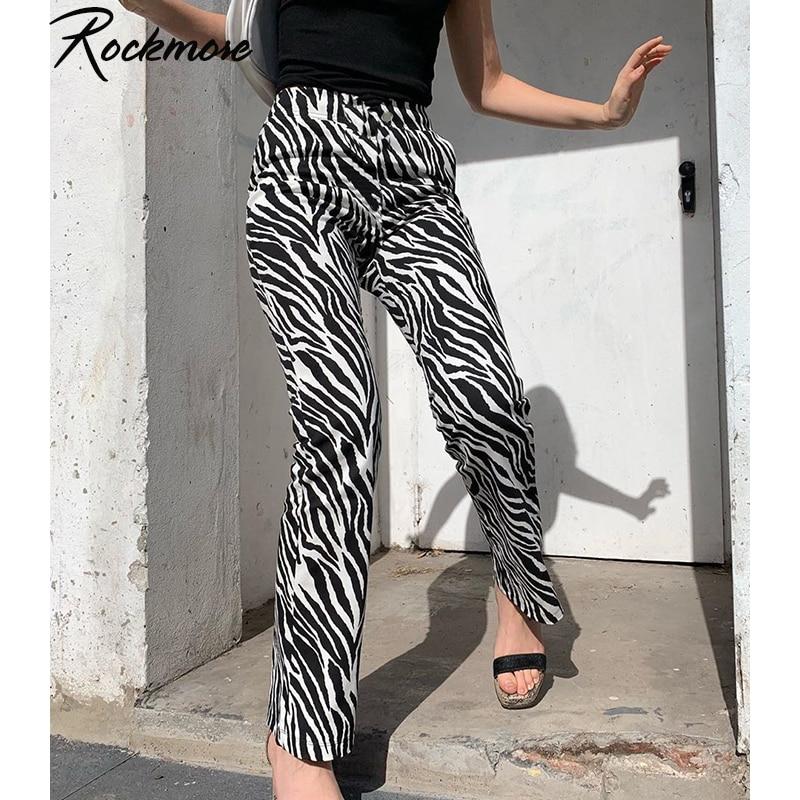 Rockmore Zebra Striped Print Pants Women Joggers High Waisted Trousers Streetwear Loose Harajuku Wide Leg Pants Femme Sweatpants