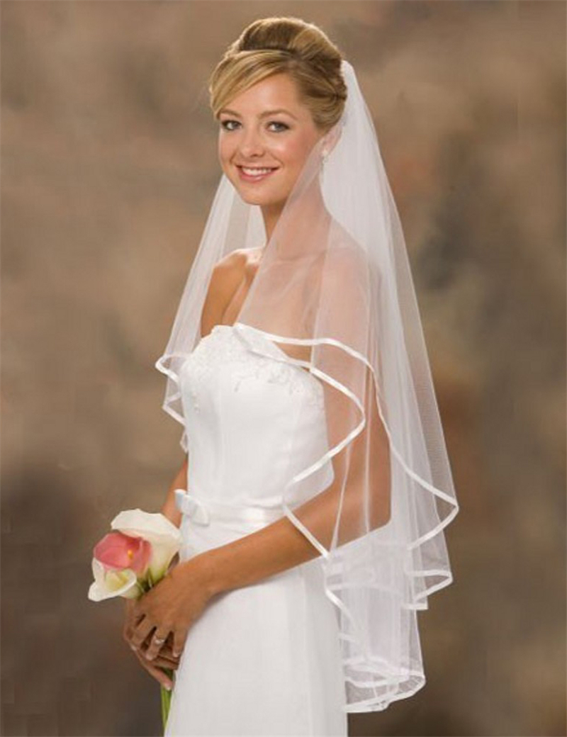 ILoveWedding Hot Sale Stock White/Ivory Wedding Veils With 2-Layer Bridal Veil With Comb Women Wedding Accessories Free Shipping