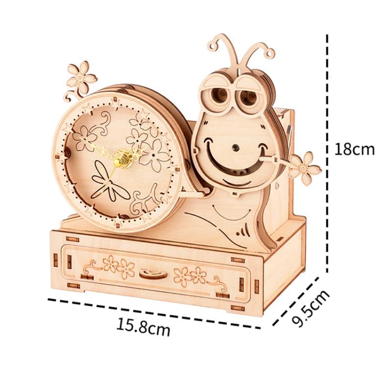 madeira animal quebra cabeca caracol casa caixa musica cj 05
