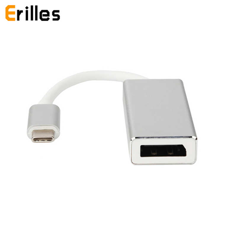 Usb tipo c 3.1 macho para dp displayport 4 k 30 hz adaptador fêmea cabo metal escudo conversor de vídeo hub para macbook/chromebook pixel