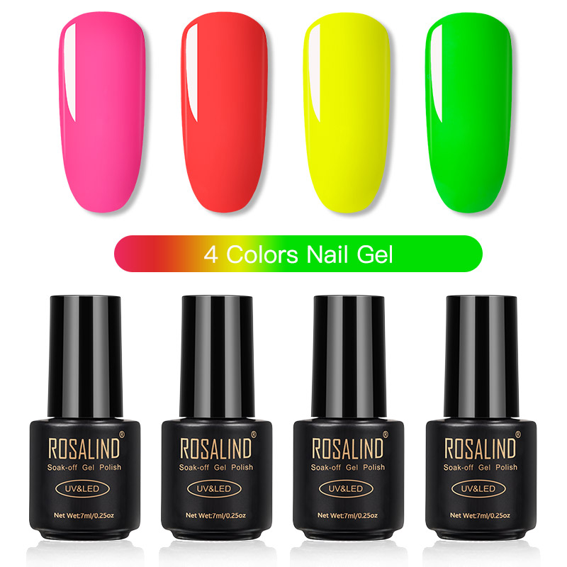 ROSALIND Gel Nail Polish Set Solid Color Nail Kit For Manicure Vernis Semi Permanent 7ML Gel Kit Top And Base All For Manicure 10