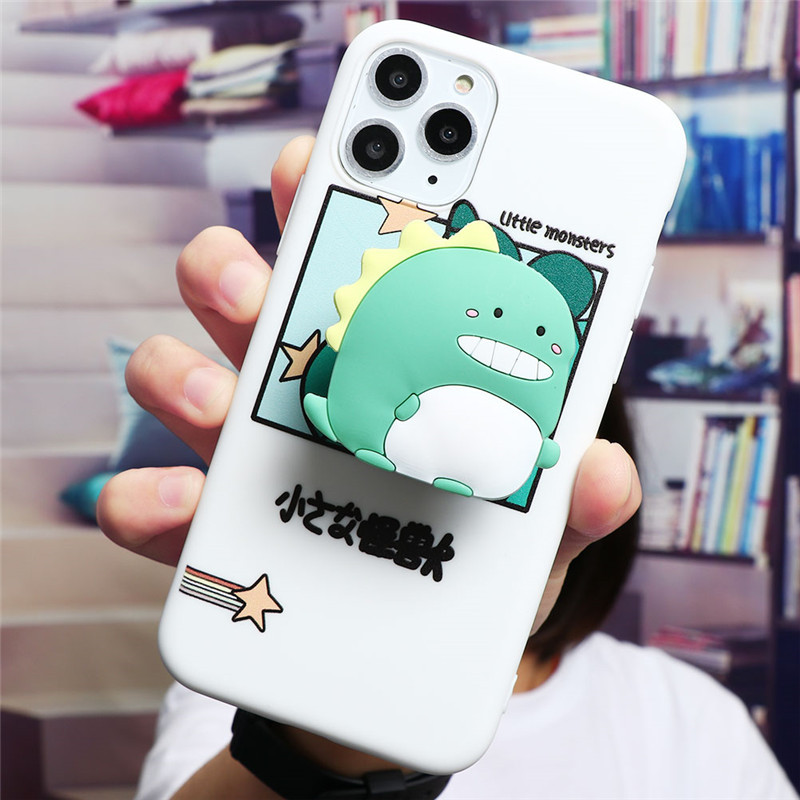 Cute Cartoon Print Design Made Of Soft TPU Material Standing Case For iPhone Mobiles 3
