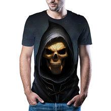 Camiseta con estampado 3D de calavera de horror para hombre y mujer, camiseta de moda de gama alta, estilo hip hop2021