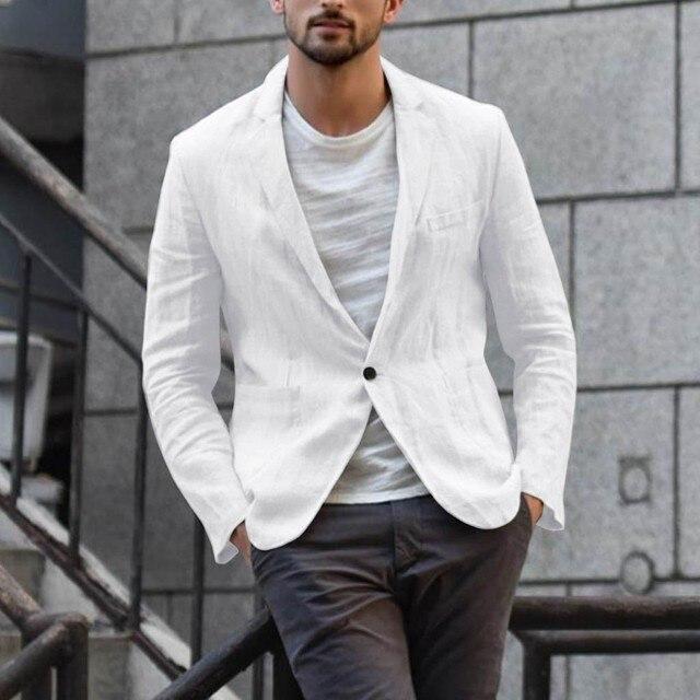 Деловой повседневный мужской блейзер, льняная куртка, облегающее пальто, верхняя одежда, однобортная Мужская куртка, пальто высокого качества 2