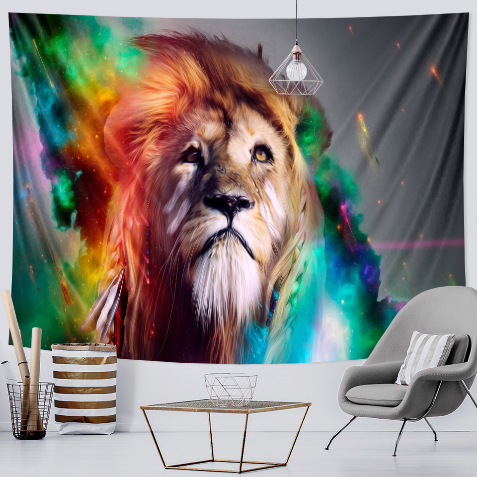 Animal psychedelic scene Lion King home decoration tapestry witchcraft tapestry Hippie Bohemia decoration Datura sheet