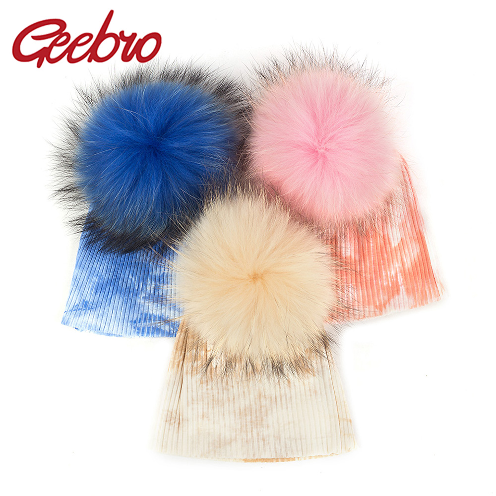 Geebro Lovely Toddler Cotton Soft Skull Cap Real Fur Pompom Beanie Warm Tie Dye Hat Winter Autumn Ribbed Hats For Newborn Baby