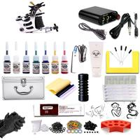 Complete Coil Tattoo Machine Power Supply Foot Pedal Needles Grips Tips Kit Easy to Use Durable Complete Beginner