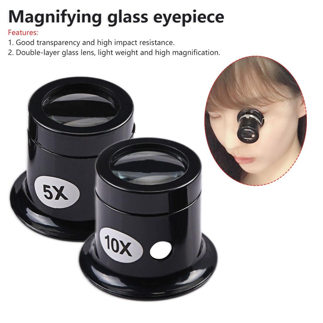 Monocular Magnifying Glass 5X/10X Portable Loupe Lens Jeweler Watch Magnifier Tool Eye Magnifier Lens Repair Tool Kit