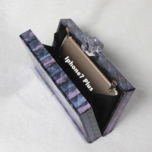 Image 4 - 新ブランドファッション財布女性アクリルかわいいハンドバッグブルーストライプ女性のイブニングバッグ高級ウェディングバッグヴィンテージボックス財布クラッチ
