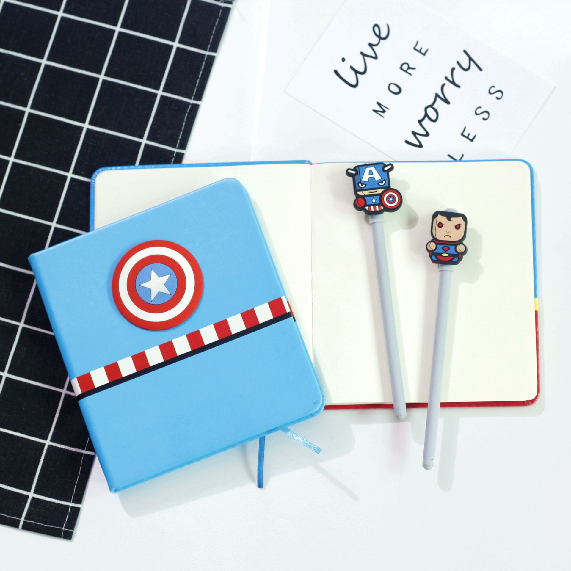 Captain America Cartoon Notebook Spider-Man Iron Man Stationery Notepad Creative Birthday Gift Student School Supplies