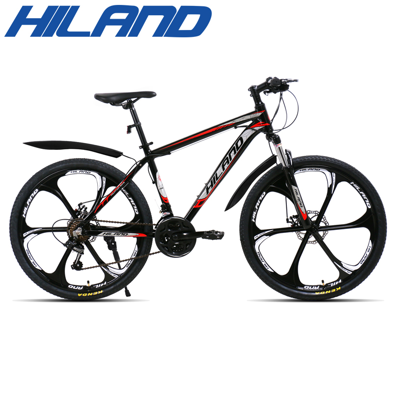 HILAND 26 inch 21 Speed Aluminum Alloy Suspension Bike Double Disc Brake Mountain Bike Bicycle with Service and Free Gifts 5